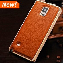 Luxury Leather back cover phone case for Samsung galaxy note 4 aluminum bumper case