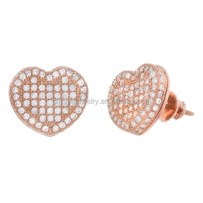 rose gold plated 925 sterling silver hip hop heart shape stud earrings