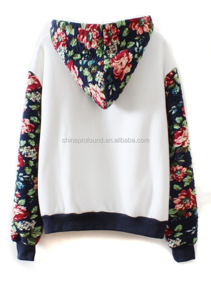 Women White Floral Long Sleeve Drawstring Hoodie