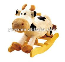 Plush cow baby rocking horse cute baby ride on toys new wooden rocker