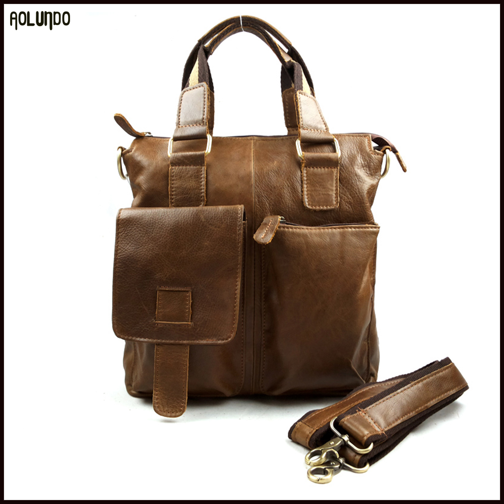 Top selling mens casual brown briefcase leather bag genuine men