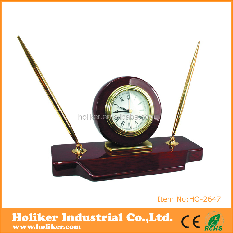 Artistic classical table metal clock wooden desk world time clock with roman numerals