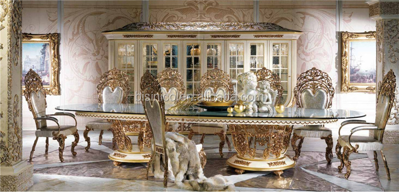 New Arrival Royal Oval 4 Meters Dining Table, Antique Gold Plated Metal Base Dining Table, Elegant Glass Top Dining Table Set