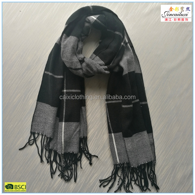 Classic style 180*65cm checked Fashion winter acrylic knit scarf