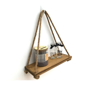 Stressed Wooden Hanging Wall Shelf With Hemp Rope Multilayer