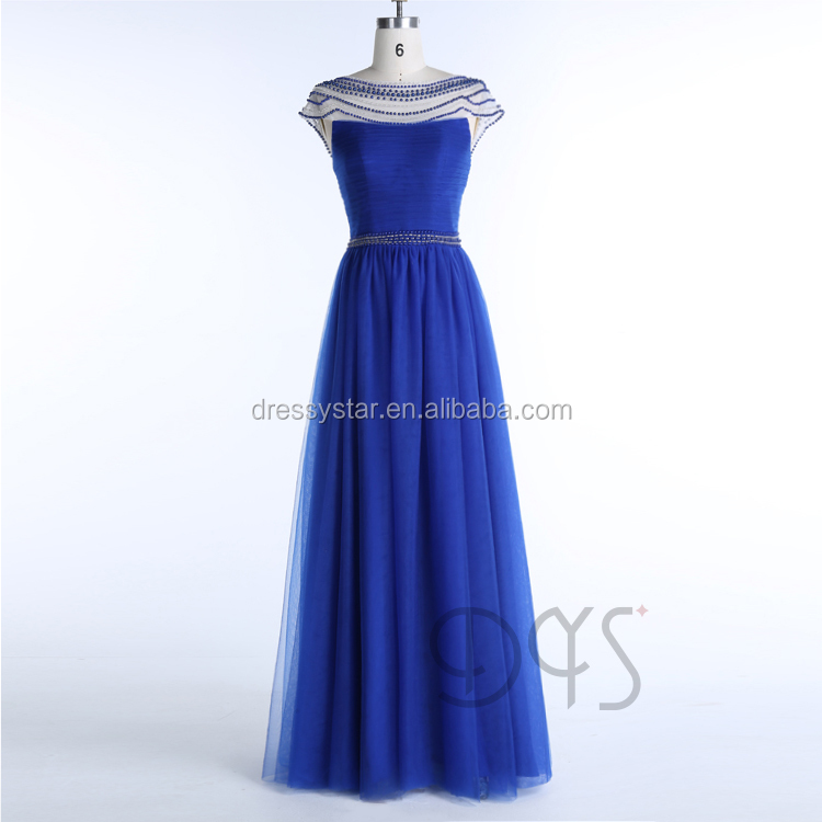 Cheap Royal blue bead design see through prom dresses with cap sleeve