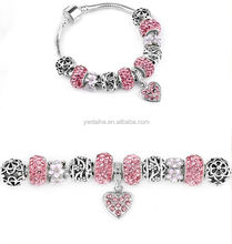 Pink Crystal Beads Bracelets For Women Silver Plated Girl Charm Bracelets Femme Pulseras