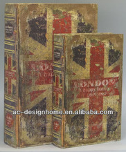 S/2 CANVAS/MDF THE UNION JACK BOOK BOX