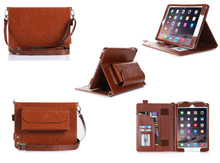 Hot Selling Quality-assured Genuine Leather Case for iPad pro 12.9 with shoulder strap and charger pocket