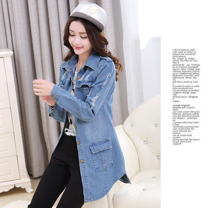 zm22754a fashion women clothes 2017 trench coat casual plus size ladies jeans jacket