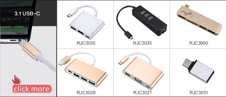 RJC3067 7in1 USB 3.1 Type C to 7 PORTS 4K*2K HDMI USB 3.0*3+TF SD adapter hub with pd