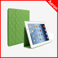Quilted pattern leather case for new iPad diamond design case