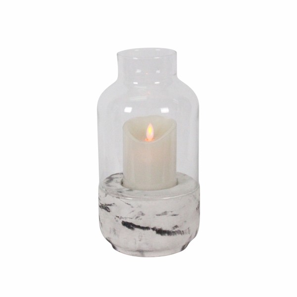 Concrete base glass cover vintage wind light tall glass candle holders cheap