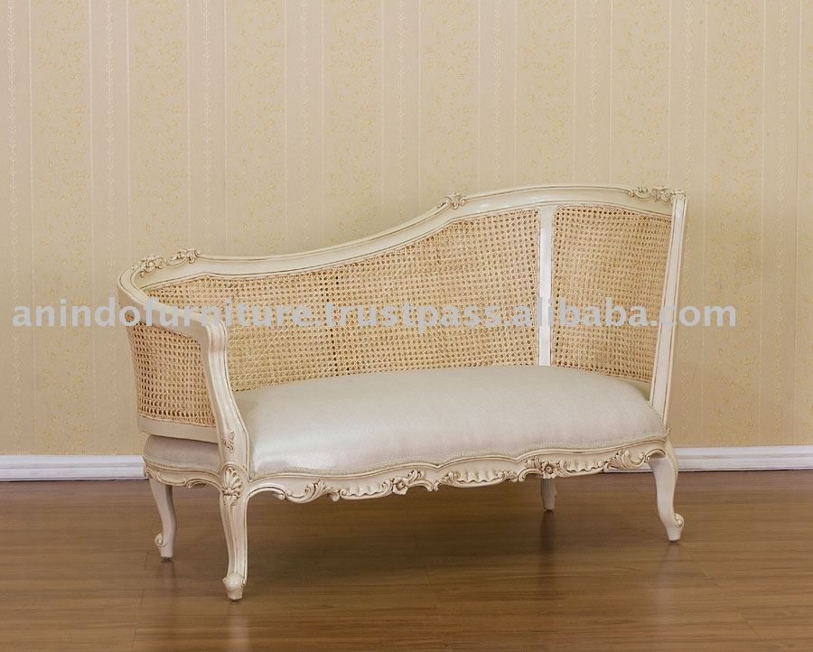 Cream Furniture - 2 Seater Sofa with Rattan