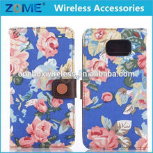 Flower Leather Case For Samsung S6 Alibaba China Porcelain Pu+ Pc Leather Case/Wallet Cover For Mobile Phone For Samsung S6
