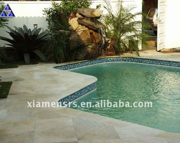 yellow Wood Vein Slate swimming pool coping