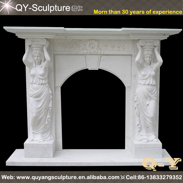 Hand Carved Carrara Marble Fireplace