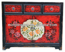 Chinese Antique furniture &hand paint two door two drawer wood cabinet