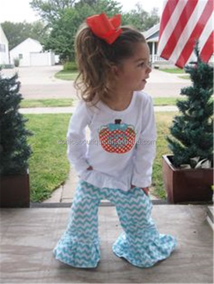 cheap wholesale embroidery apple chevron ruffle pants teen clothing