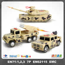 3-Packing Military Vehicle Truck Toy with Tanks and Rocket Car