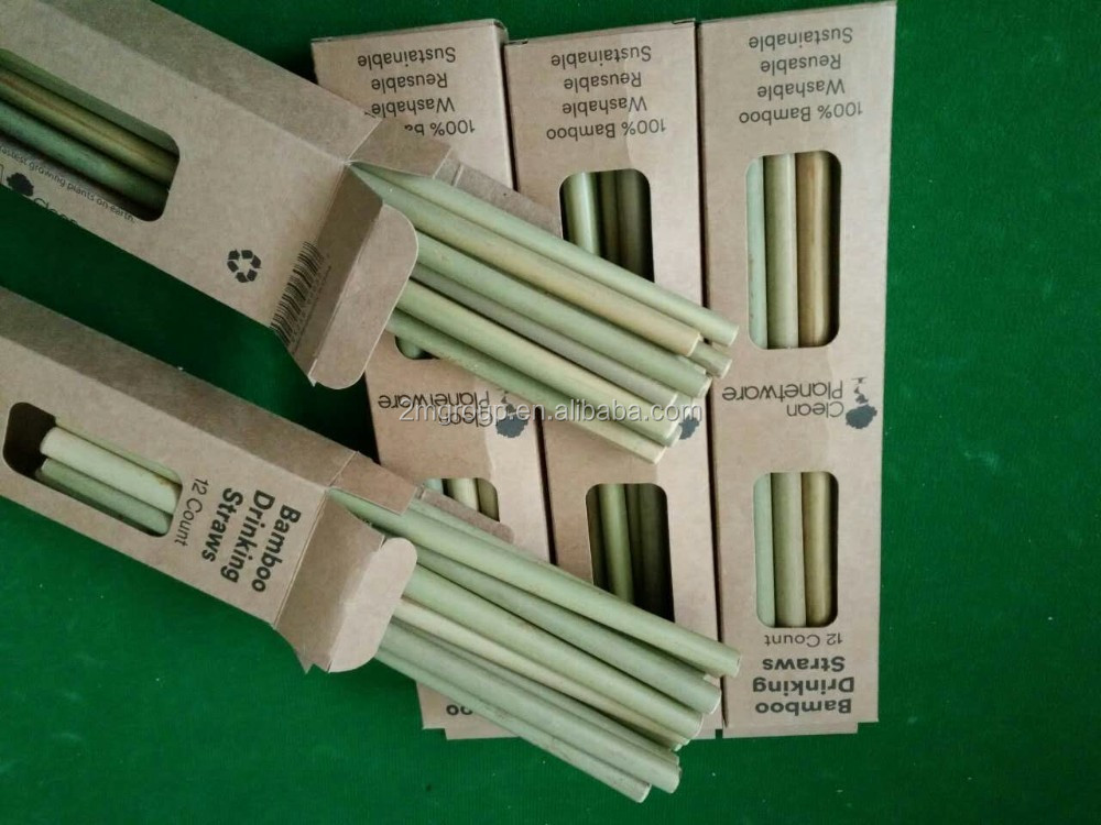 customized box package bamboo drinking straw