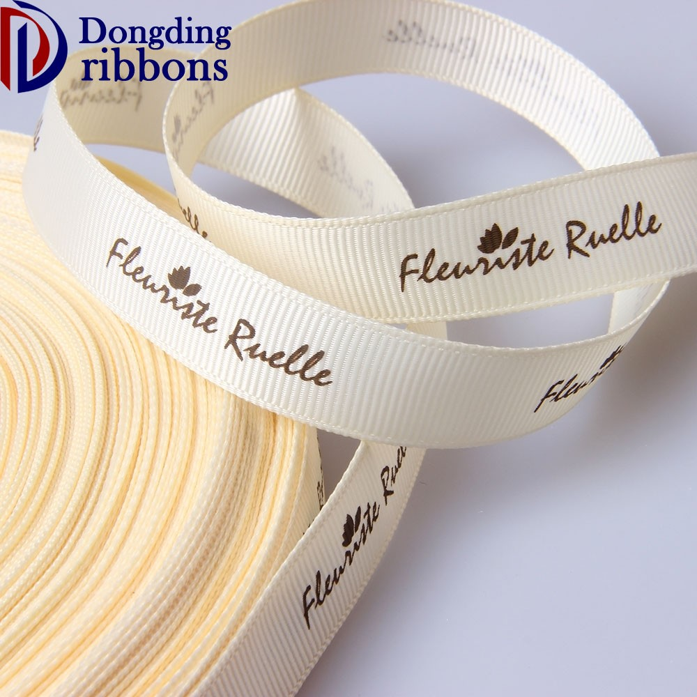 Factory Wholesale 10mm 15mm 20mm cream printed stripe grosgrain ribbon for present decoration