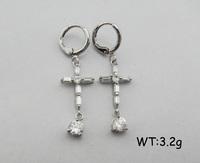 SE0970 cross shape fashion jewelry rhinestone earrings findings wholesale