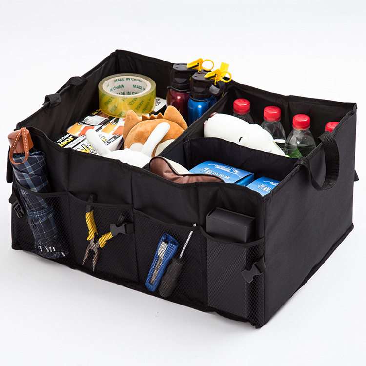 Foldable car trunk storage organizer with cooler