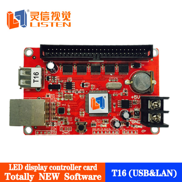 Outdoor/Semi outdoor/Indoor ethernet led billboard control card, its can support IP/TCP protocol driver LS-T16 (USB+LAN)