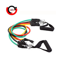 Fitness exerciser latex resistance band set with strong clips