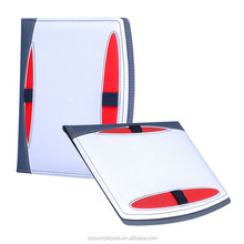 Customized Functional PU/PVC Leather Pockets File Portfolio With Elastic Band Pen Holder
