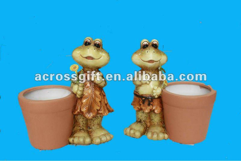 painted terracotta cute garden frog animal planter