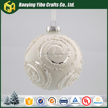 White beads like roses decorative Christmas glass balls