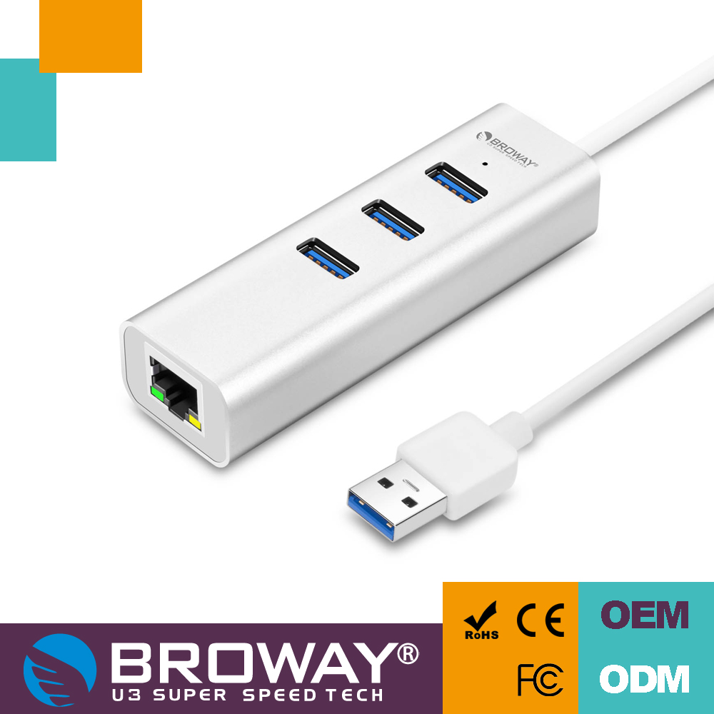 Good price Gigabit Aluminum usb 3.0 hub ethernet adapter with 40CM cable