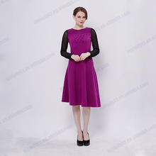 Hot selling spring autumn black long sleeve purple velvet short western casual dresses