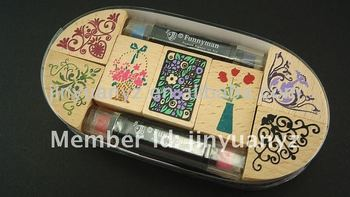 The hot sale and new beautiful design wooden stamp set