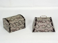 Retro light brown square jewelry box rivets decorative