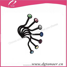 Black stainless steel colored crystal 16 gague fany attractive design nose ring