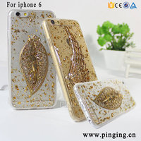 Shining Gold Foil Acrylic TPU Transparent Case For Iphone 6 3D Leaf Shape Bling Bling Case For I phone 6
