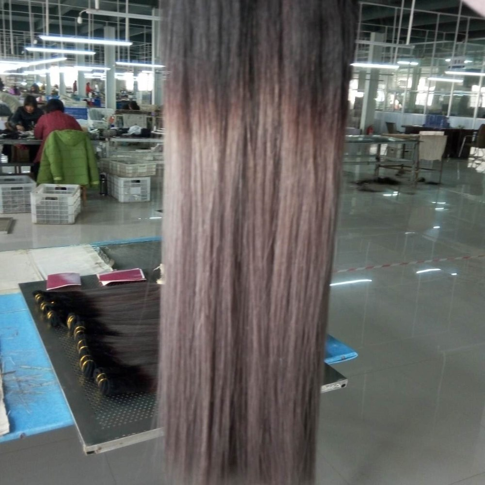 gray color straight hair ,100% Remy Virgin Hair Extension, Brazilian human hair weave