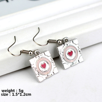 3D Game Portal 2 Fashion Drop Earrings Pink Heart Enamel Earrings Companion Cube Dangle Earrings For Women