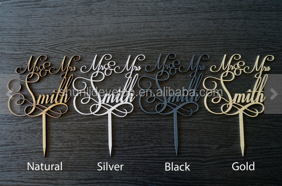 Gold glitter paper cake toppers with happy birthday wedding