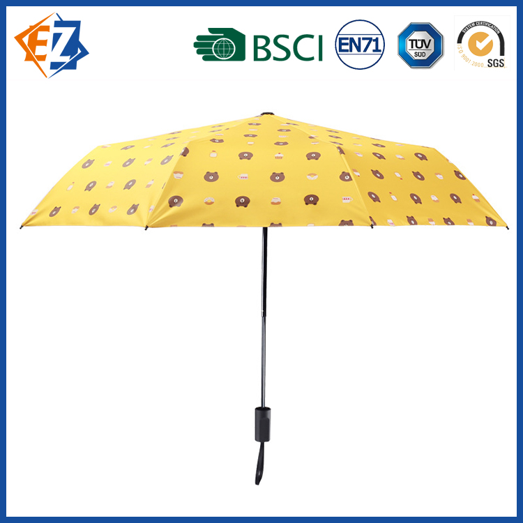 Cute Animal Print Umbrella with Plastic Cover for Girls