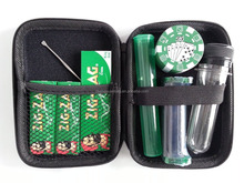 EVA Smoking Kit in Zip Case with Poker Chip Grinder, Rolling Machine & Zig Zag Papers, Cache Tube & King Doob