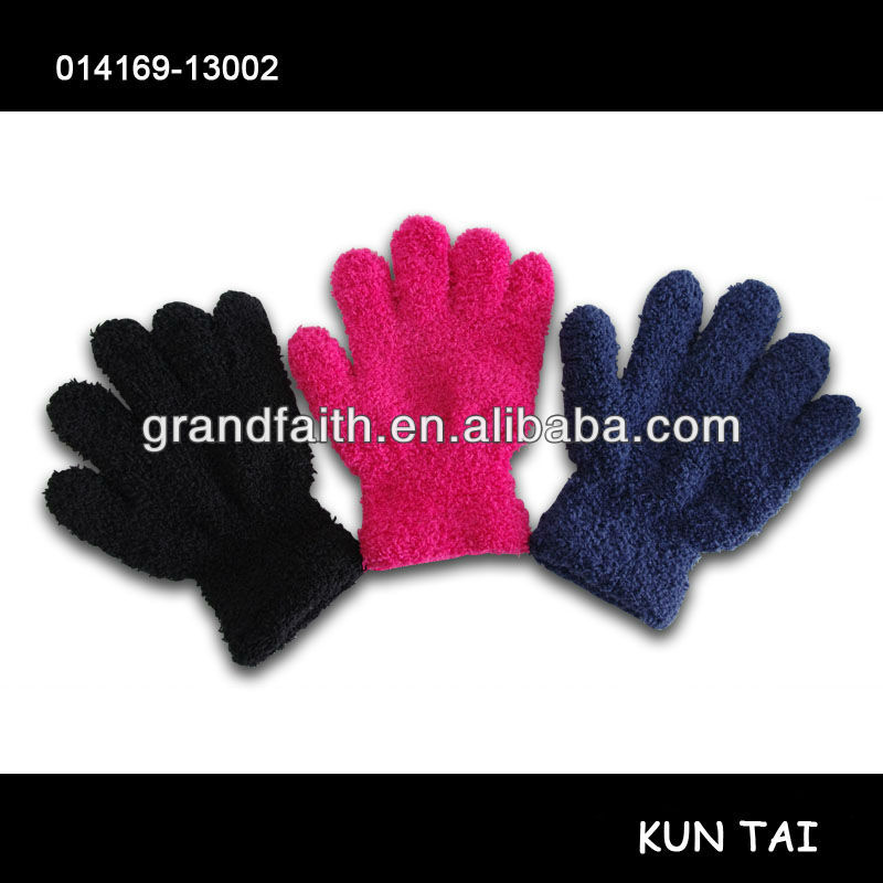 kids feather gloves,feather yarn glove,feather yarn knit gloves