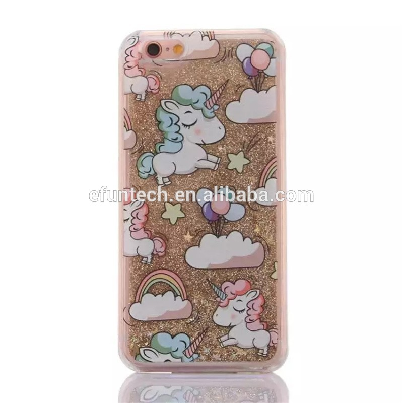 Latest liquid sand glitter unicorn mobile phone cover for iphone 7 7 plus