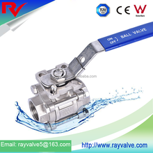 Three piece CF8M OEM stainless steel ball valve with Mounting Pad