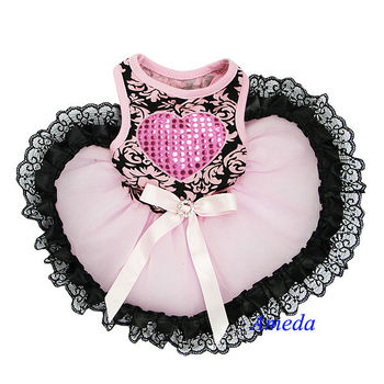 NEW Black Damask Light Pink Black Lace Tutu Heart Pets Dogs Clothes Party Dress XS-L
