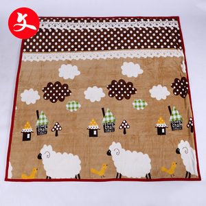 2018 new design customize brown knitted cartoon coral fleece blanket