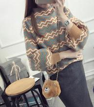 Korean Lantern Sleeve stripe bubble sleeve sweater half sleeve head wide loose knit turtleneck women beautiful sweater